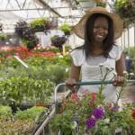 woman shopping at a garden nursery