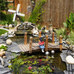 backyard water feature footbridge