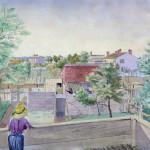 backyard scene illustration