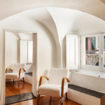 room curved walls  vaulted ceiling