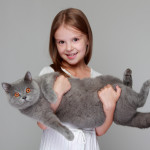 little girl carrying surprised cat