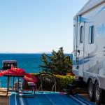 RV camper by the sea