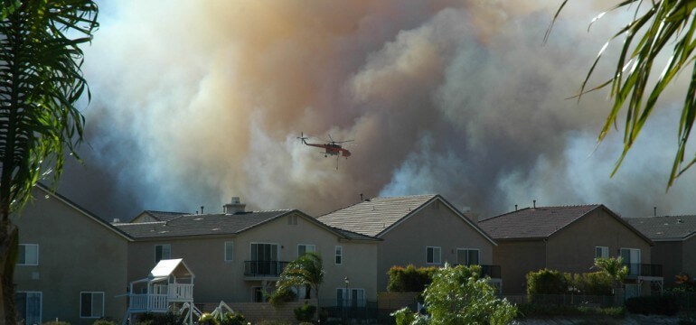 California wildfire in neighborhood