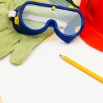 home renovation safety goggles hard hat gloves