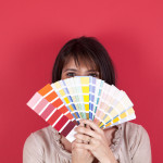 woman with color swatches