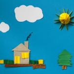 house clouds sun cardboard cut outs