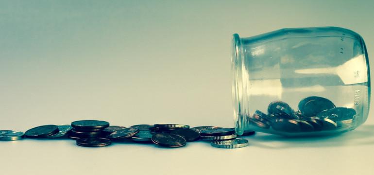 coins jar money spill