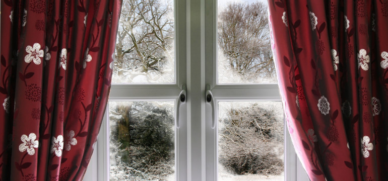 winter window covering drapes