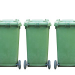 green garbage wheelie bins
