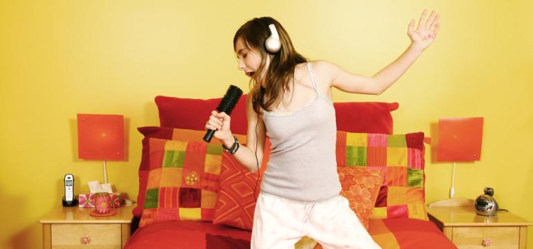 teenage girl bedroom singing hairbrush