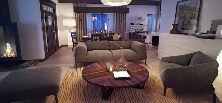cozy living room gentle lighting evening