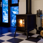 wood stove on harlequin floor