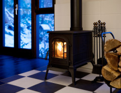 wood stove on harlequin floor