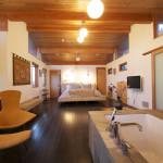 Open floor plan bedroom and bathroom