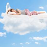 sleeping woman clouds mattress