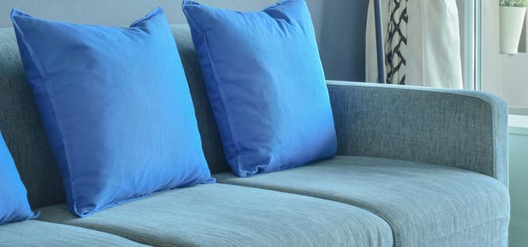 blue sofa and cushions