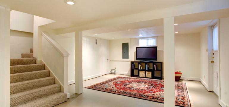 basement remodel area rug tv room