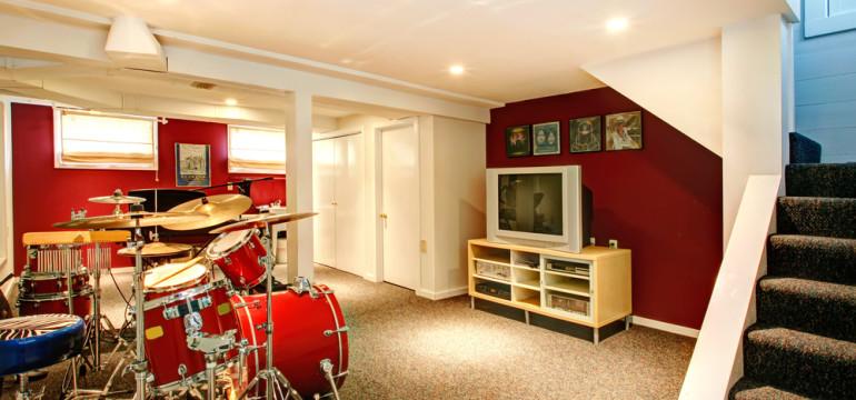 finished basement remodel drum kit
