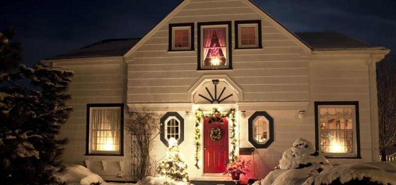 winter home exterior red front door