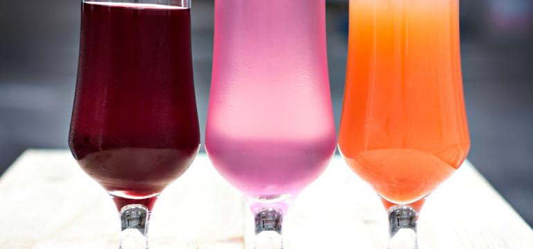 color wheel color schemes three glasses lemonade