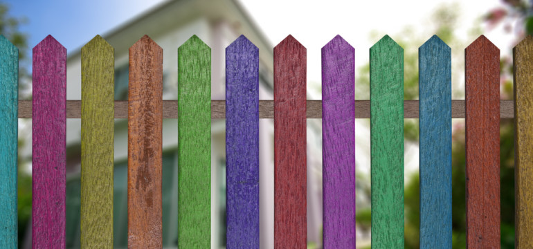 multicolored picket fence