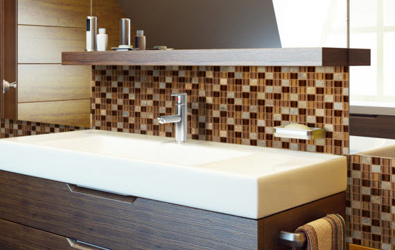 optico glass tile and bathroom sink mirror combo