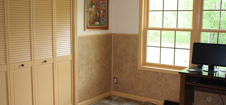 light colored wall paneling