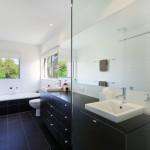 modern bathroom dark tile