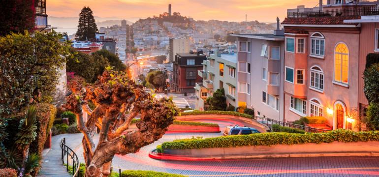 San Francisco Lombard Street sunset