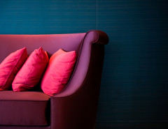 red and fuschia couch and pillows blue wall background