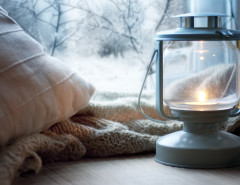 winter window lantern pillow blanket