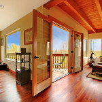 red wood flooring well lit room spring