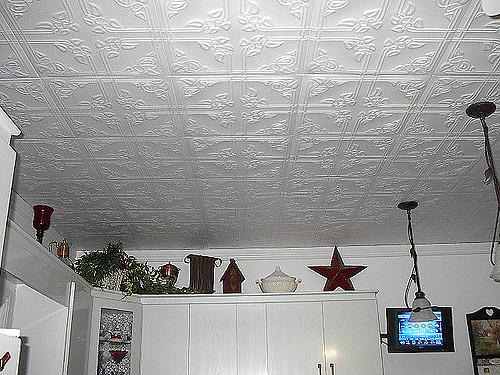 Tile on ceiling