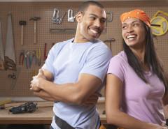 couple in home workshop
