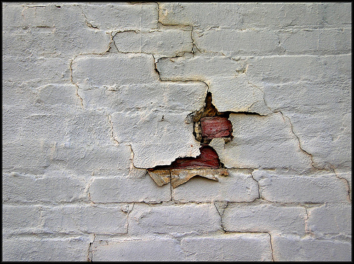 brick peeling paint