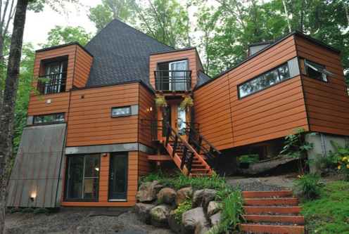 Affordable Shipping Container House in Quebec, this time in the day time, spring (lowimpactliving.com)