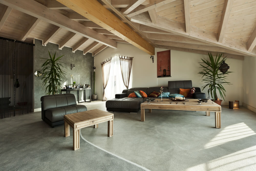 Exposed Roof Beams Living Room