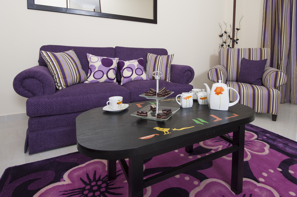 Design with purple Purple living room decor