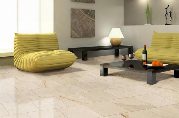 Delightful Marble Floor Living Room Wine Bottle Yellow Seats