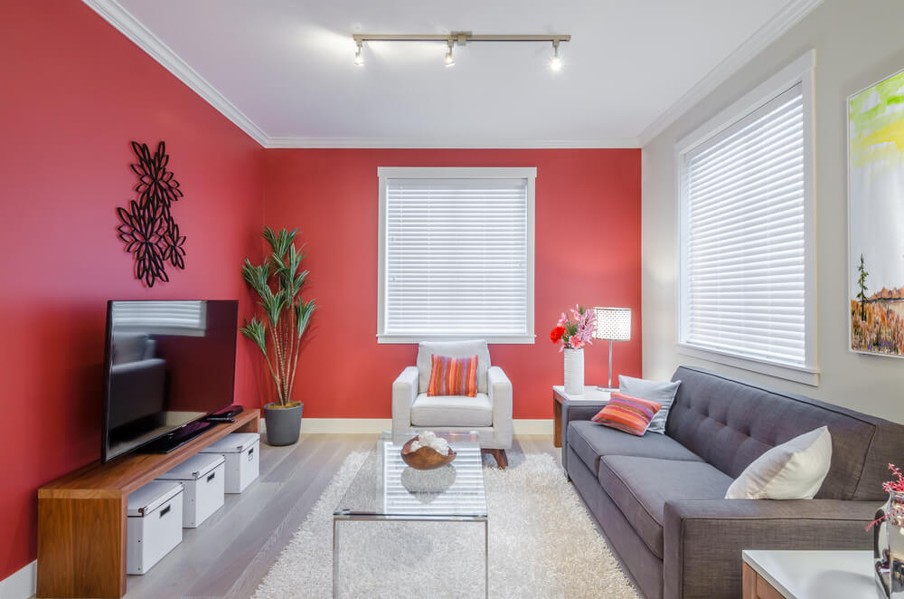 modern living room crimson accent wall