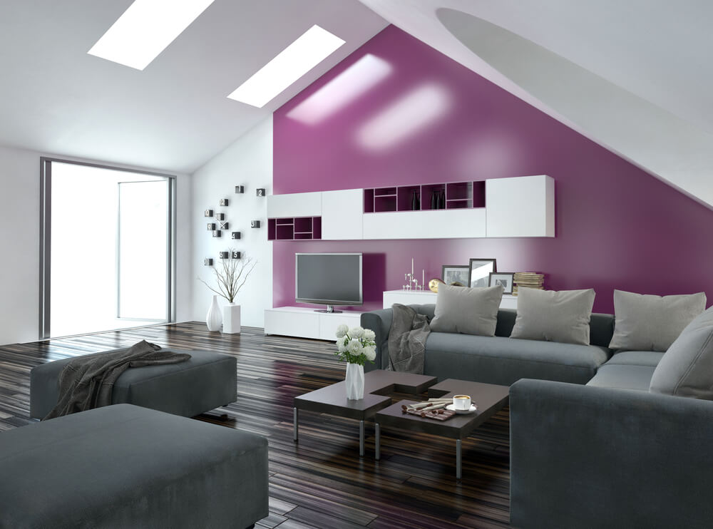 Purple Accent Wall Living Room