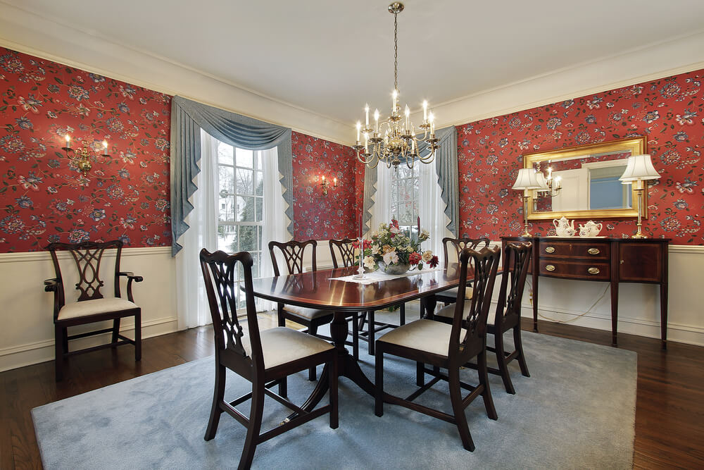 Dining Room Area Rug Wood Floor Wallpaper