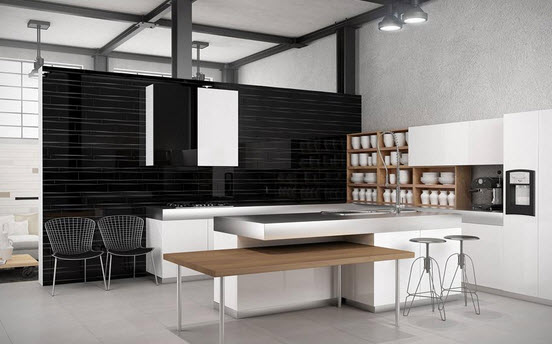 Black Beveled Subway Tile Accent Wall Kitchen