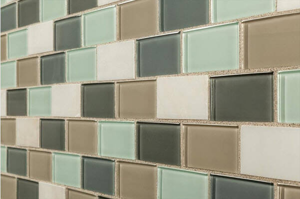 multicolored glass subway tile