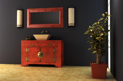 Asian Decor Bathroom Blue Walls Tile Floor