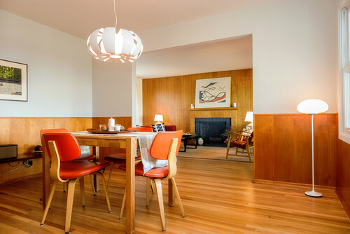 70s dining room. midcentury modern dining room with table 70s