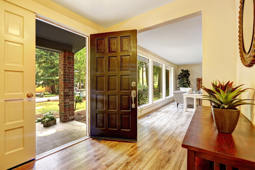front door front entrance wood flooring
