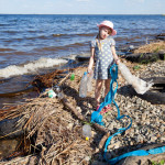 beach clean up little girl