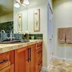 small stylish bathroom stone tile and backsplash