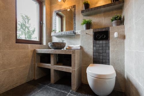 small bathroom wall hung toilet